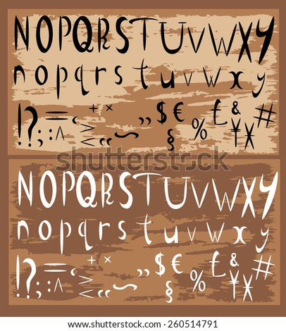 Vector set with ABC letters on a brown background old paper. Collection of calligraphy. part 2
