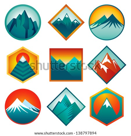 Vector set with abstract signs and  icons - mountains and summits in blue color