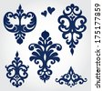 Vector set with baroque ornaments in Victorian style. Ornate element for design. It can be used for decorating of wedding invitations, greeting cards, decoration for bags and clothes. - stock vector