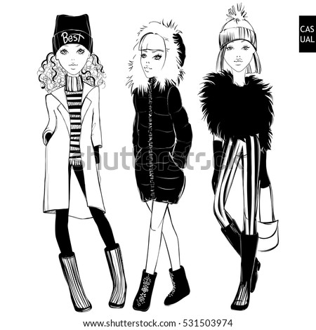 Vector Set Beautiful Fashionable Girls Cute Stock Vector 531503974 - Shutterstock