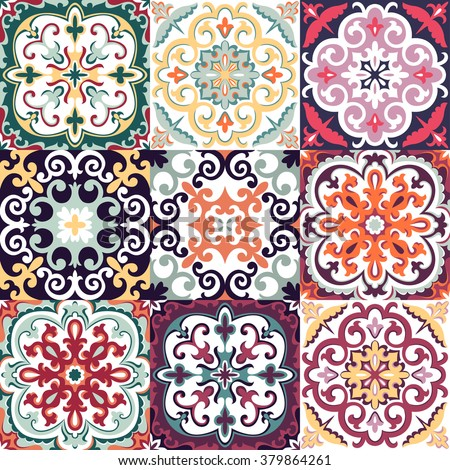 Vector Set with Beautiful seamless ornamental tile background - stock vector
