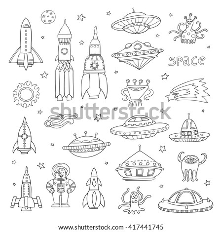 Vector set with black and white cartoon space objects: ufo rockets, astronaut, aliens, planets, stars. Hand-drawn elements in space theme isolated on white background. Invitation elements. Symbol set. - stock vector