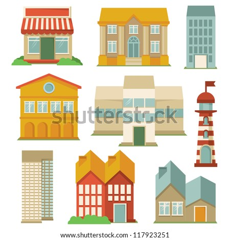 Vector set with buildings icons - map elements in retro style