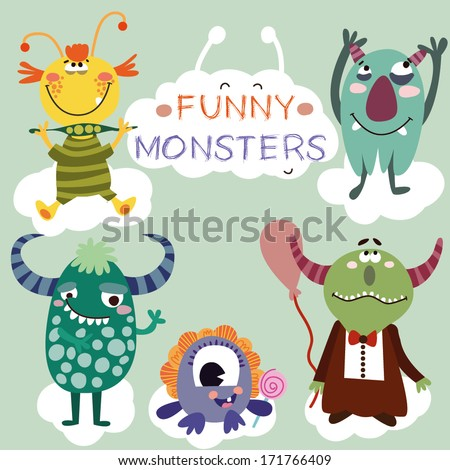 Vector set with cartoon cute monsters - stock vector