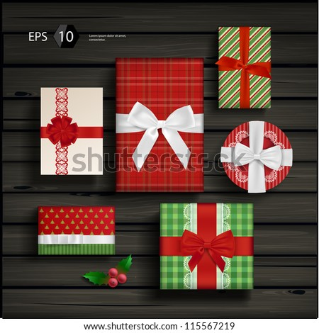 Vector set with christmas gifts and bows - stock vector