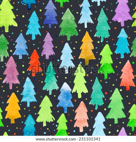 Vector set with Christmas tree. For Merry Christmas and Happy Hew Year. Isolated design on the black background. Christmas individual seamless watercolor pattern - stock vector