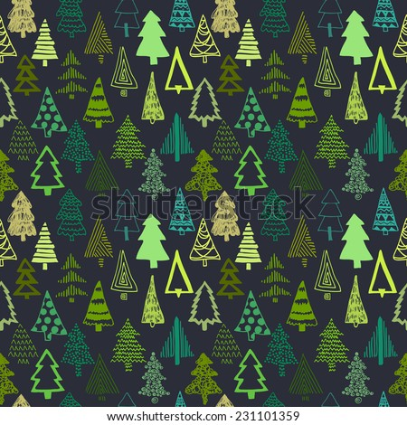 Vector set with Christmas tree. For Merry Christmas and Happy Hew Year. Isolated design on the black background. Christmas individual seamless pattern - stock vector