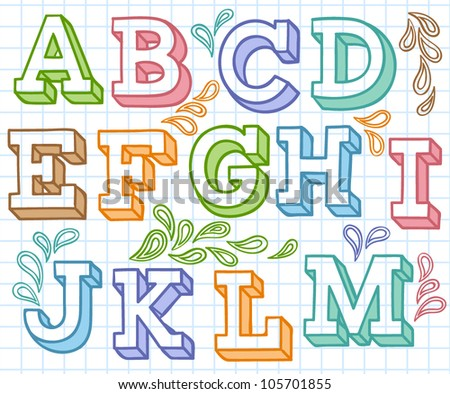 Vector set with colorful hand written ABC letters - stock vector