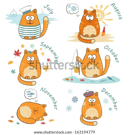 vector set with cute bright cats.  - stock vector