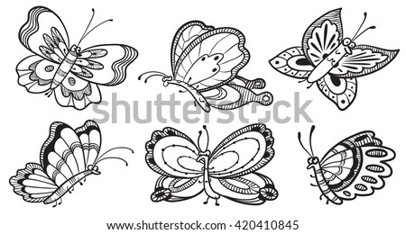 Vector set with cute doodle butterfly characters, black and white colors - stock vector
