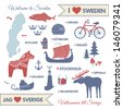 Vector set with design elements of symbols of Sweden and map - stock vector