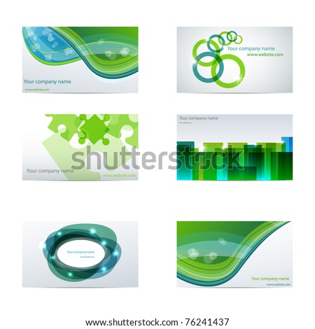 Vector set with different green business cards - stock vector