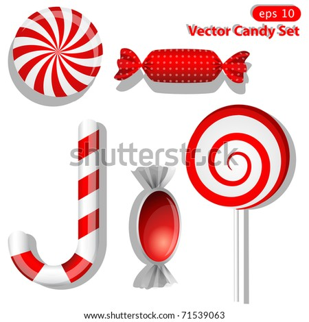 Vector set with different red candies - stock vector