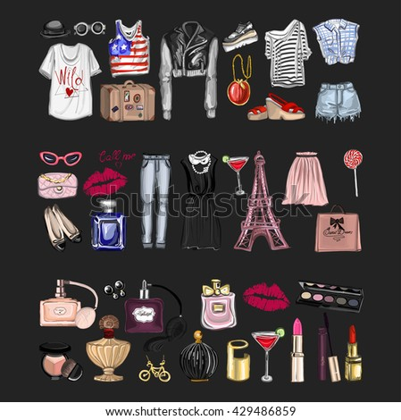 Vector set with fashion and perfume elements Digital watercolor - stock vector