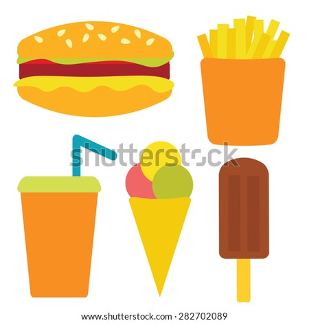 Vector set with fast food: cheeseburger, fries, ice cream, soda. Isolated on a white background - stock vector