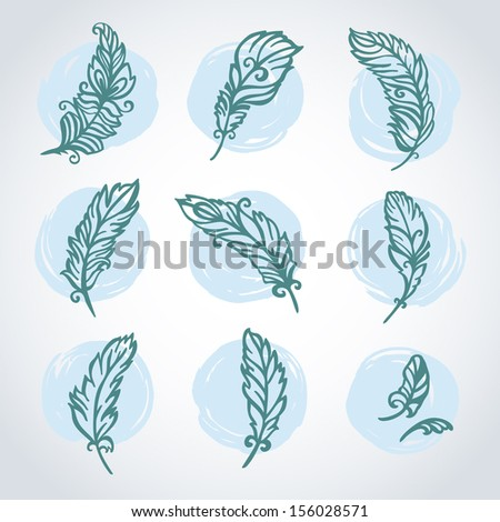 Vector set with feathers. Vector illustration. - stock vector