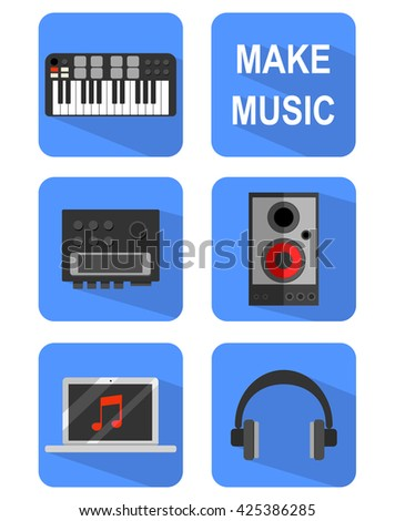 Vector set with flat icons of music equipment