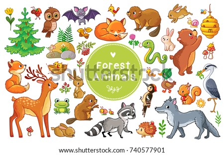 Vector set with forest animals and birds. Collection of insects and mammals in cartoon style.