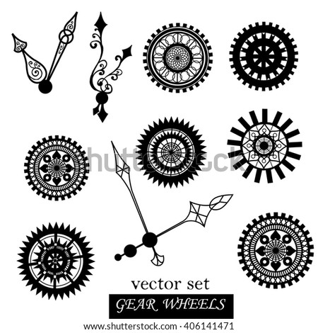 Vector set with gear wheels, Steampunk style. - stock vector