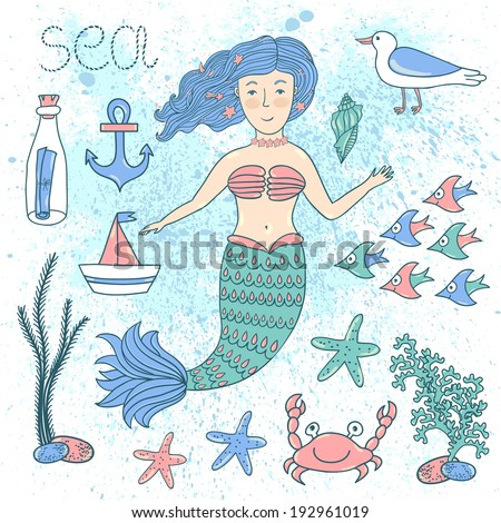 Vector set with hand drawing cute mermaid and sea elements:anchor, bottle with letter, shell, boat, crab, weed, starfishes, school of fish.Card with cartoon characters.Vector background with splashes. - stock vector