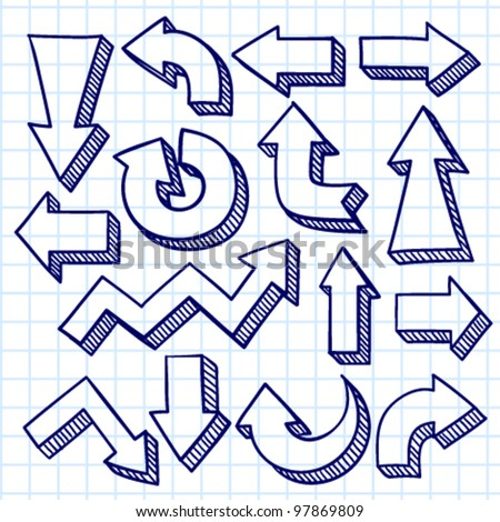 Vector set with hand drawn arrows - stock vector