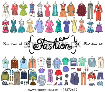 Vector set with hand drawn colored doodles on the theme of fashion. Flat illustrations of women's and men's fashionable clothes. Sketches for use in design - stock vector