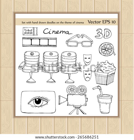Vector set with hand drawn doodles on the theme of cinema on white background. Sketches for use in design - stock vector