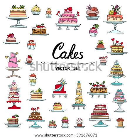 Vector set with hand drawn, isolated and colored doodles of cakes. Flat illustrations on the theme of food, desserts. Sketches for use in design, web site, packing, textile, fabric