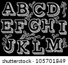 Vector set with hand written ABC letters in black background - stock photo