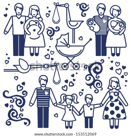 Vector set with happy families. Father, mother and children. Design elements, designers toolkit. - stock vector