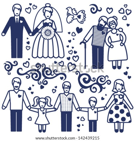 Vector set with happy  families. Grandmother, grandfather, father, mother and children.  Design elements, designers toolkit. - stock vector
