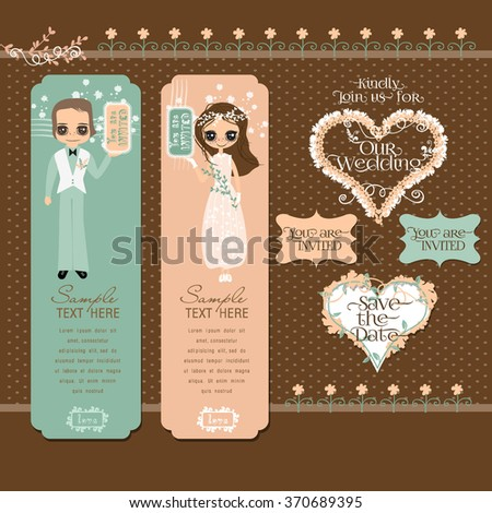 Vector Set with Romantic Couple and Design Elements for Wedding or Valentines Card Templates