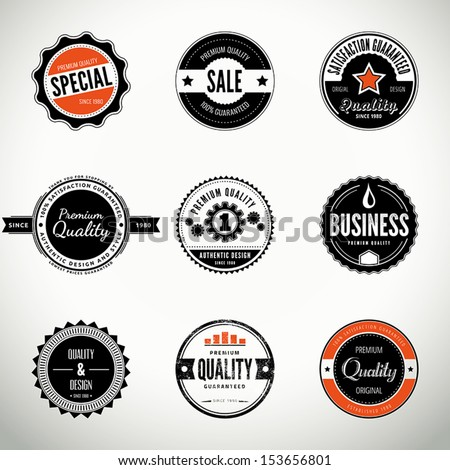 Vector set with round seals, stamps, labels or badges - stock vector