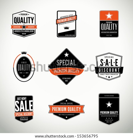 Vector set with seals, stamps, labels or badges - stock vector