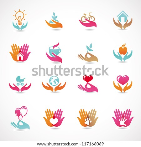 Vector set with signs of love and care - collection with  icons for abstract logo - stock vector
