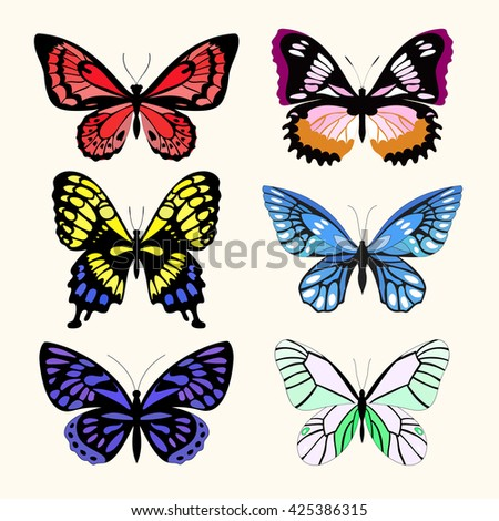 Vector set with six  different butterflies - stock vector