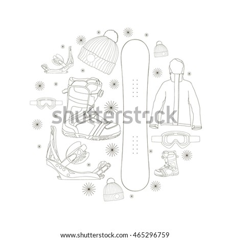 Vector set with snowboard equipment. Hand drawn design elements: snowboard, boots, binding, jacket, glasses, hat.