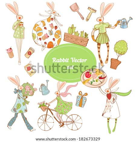 Vector set with spring rabbits and gardening isolated on the white background - stock vector