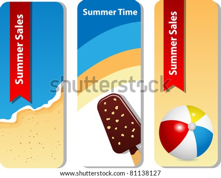 Vector set with summer sale background - stock vector