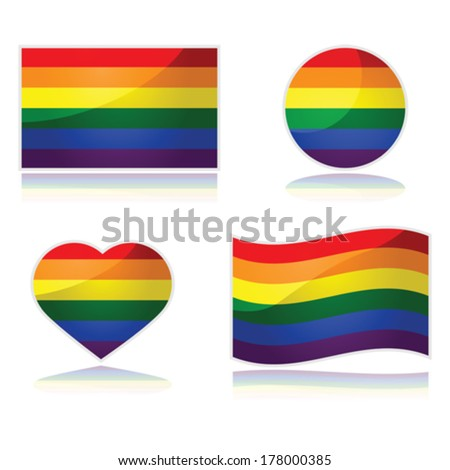 Vector set with the rainbow flag of the LGBT movement in different shapes - stock vector