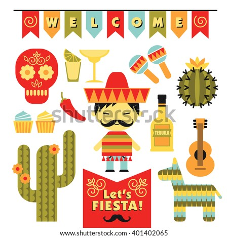 Vector set with traditional Mexican symbols. Cinco de Mayo. Let 's Fiesta! - stock vector