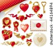 Vector set with Valentines signs and symbols - stock vector