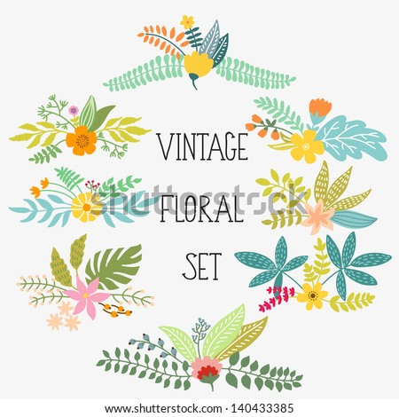 Vector set with vintage flowers - stock vector