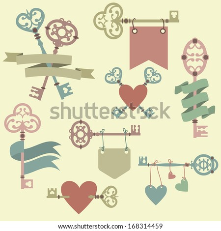 Vector set with vintage keys, ribbons and hearts. Can be used for wedding, Valentine's Day greeting cards, invitations. - stock vector