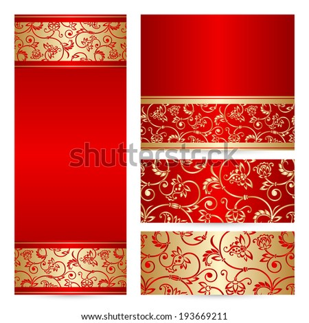 Vector set with vintage lace floral pattern for greeting or invitation card. - stock vector