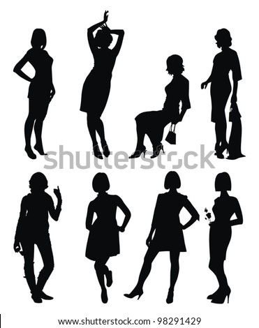 Vector set with young women silhouette - strike different attitudes - stock vector