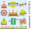 Vector Set: Work Safety and Construction Labels and Icons - stock photo