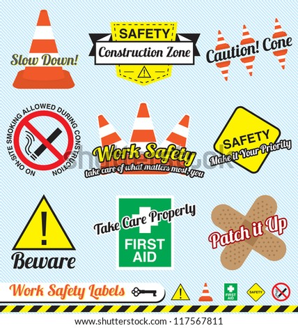 Vector Set: Work Safety and Construction Labels and Icons - stock vector