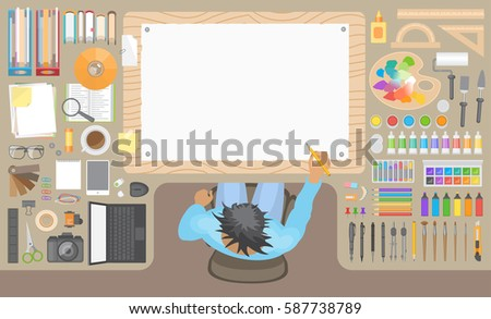 designer office desk isolated objects top view. designs artist desk top view designer office isolated objects w
