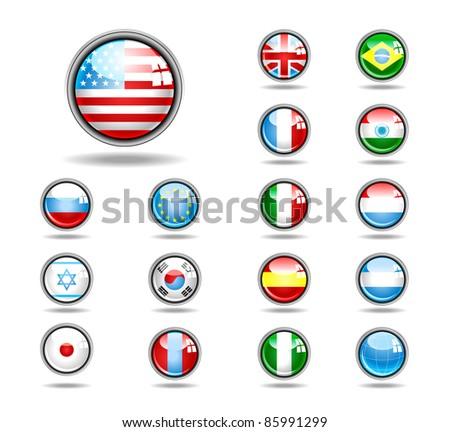 vector set world flag icons - stock vector